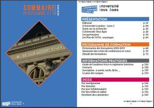 catalogue UTA 2018-2019 : sommaire