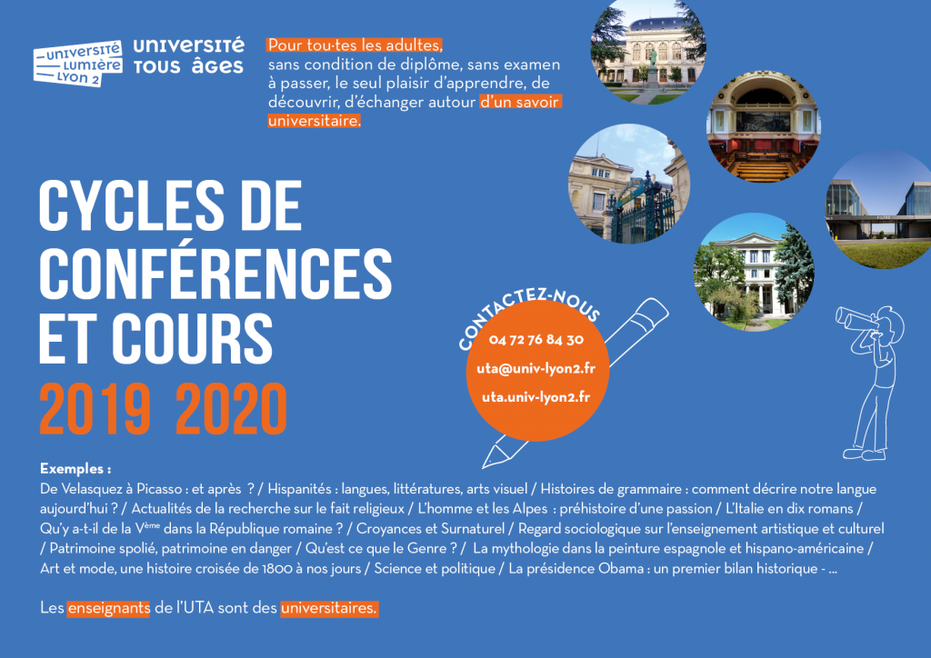 UTA universités Lyon 2 : cycles de conférences et cours par des universitaires